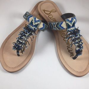 Sam Edelman Fringe Beaded sandals sz 8.5